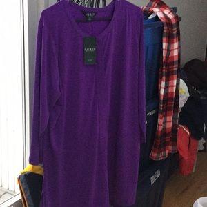 Purple silky tunic top, 3X. NWT